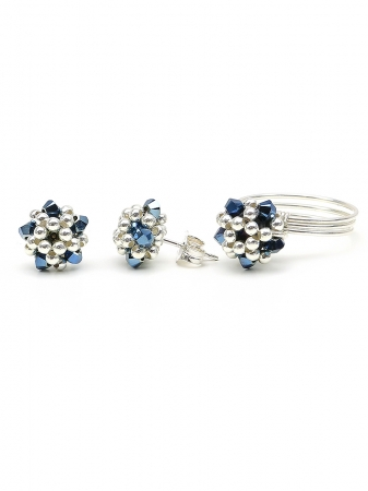 Charm Blue set - ring and stud earrings