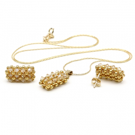 Business Golden Shadow set - pendant and stud earrings