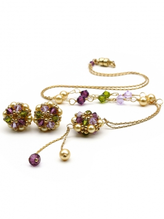 Set with Swarovski pearls and crystals - necklace and stud earrings - for women - Happy Royal