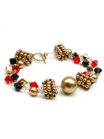 Bracelet with Swarovski pearls and crystals - for women - Dantelique Arlechino
