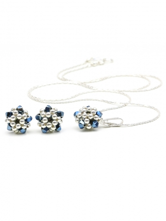 Charm Blue set - pendant and stud earrings