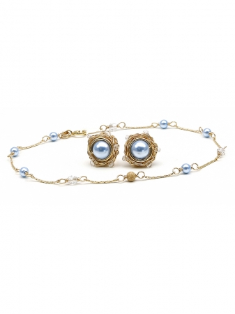 Blue Sky set - bracelet and stud earrings