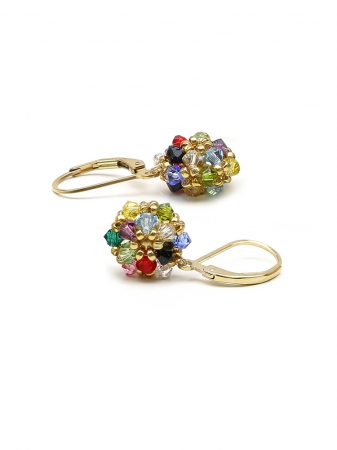 Leverback earrings with Swarovski crystals - for women - Daisies Multicolor