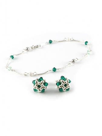 Charm Emerald set - bracelet and stud earrings