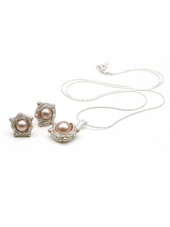 Sweet Almond set - 925 Silver pendant and stud earrings