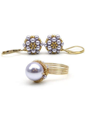 Daisies Lavander set - ring and leverback earrings
