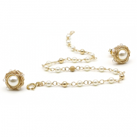 Sweet Cream set - bracelet and stud earrings