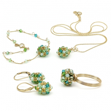 Herba Fresca set - pendant, bracelet, leverback earrings and ring