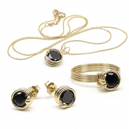 Busted Black set - pendant, ring and stud earrings