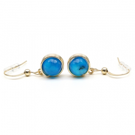 Busted Gemstone Agate Blue - earrings