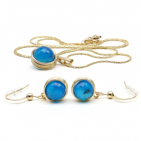 Busted Gemstone Agate Blue set - pendant and earrings