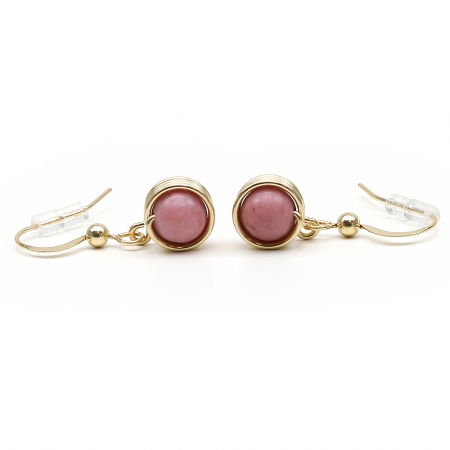 Busted Gemstone Rhodonite - earrings