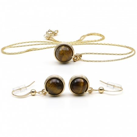 Busted Gemstone Tiger's Eye set - pendant and earrings
