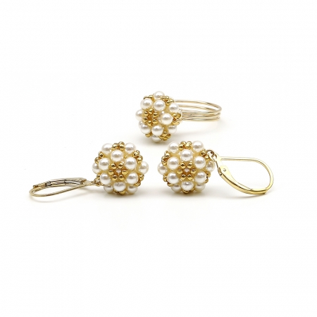 Daisies Creamrose Light set - ring and leverback earrings