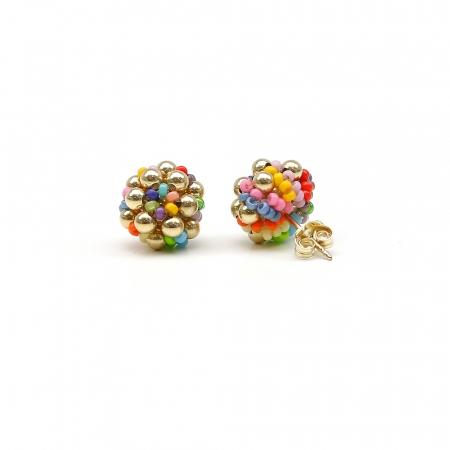 Golden Daisies Miyuki Multicolor - stud earrings