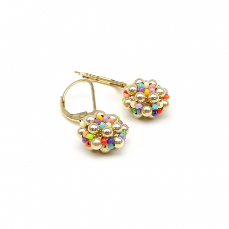Leverback earrings for women, handmade - Golden Daisies Miyuki Multicolor