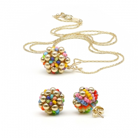 Golden Daisies Miyuki Multicolor set - pendant and stud earrings