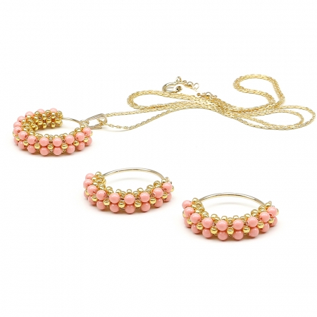 Primetime Pearls Pink Coral set - pendant and earrings