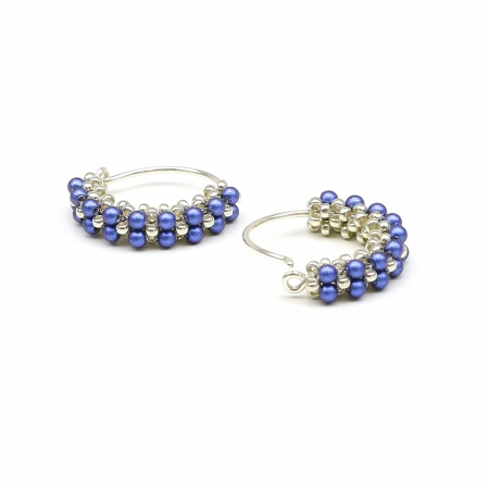 Primetime Pearls Iridescent Dark Blue - earrings 925 Silver