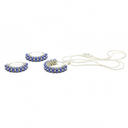 Primetime Pearls Iridescent Dark Blue set - pendant and earrings 925 Silver
