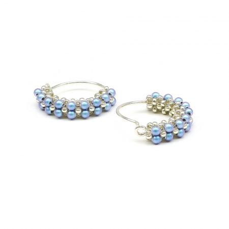Primetime Pearls Iridescent Light Blue - earrings 925 Silver