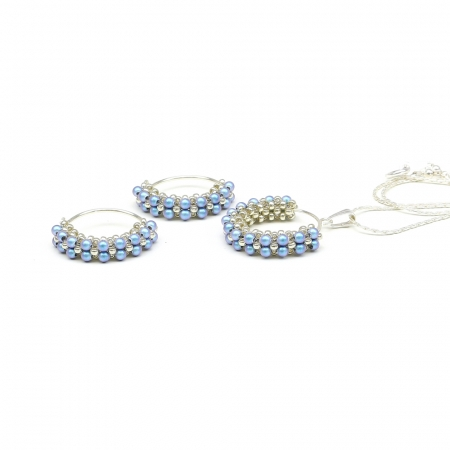 Primetime Pearls Iridescent Light Blue set - pendant and earrings 925 Silver