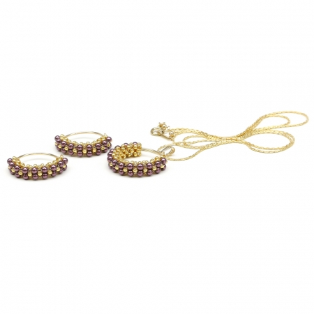 Primetime Pearls Burgundy set - pendant and earrings