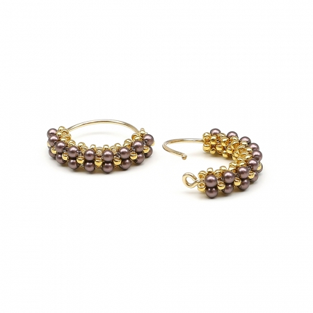 Primetime Pearls Velvet Brown - earrings