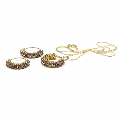 Primetime Pearls Velvet Brown set - pendant and earrings