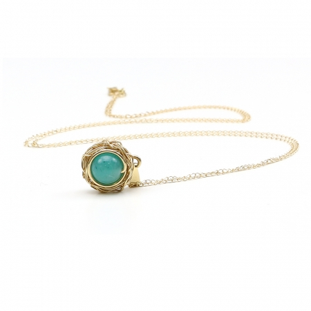 Sweet Amazonite - 14K Yellow pendant