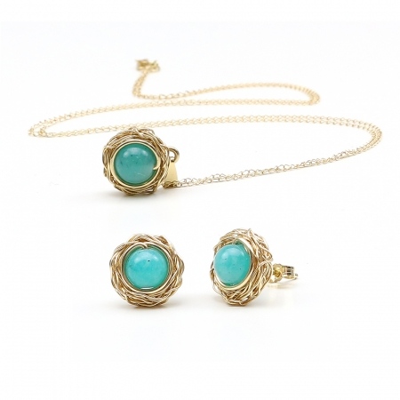 Sweet Amazonite set - 14K Yellow Gold pendant and stud earrings