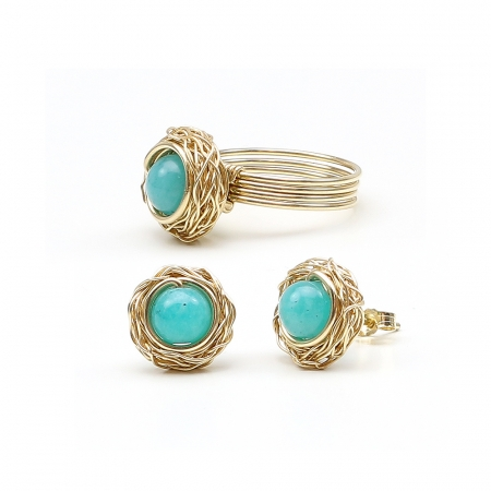 Sweet Amazonite set - 14K Yellow Gold ring and stud earrings