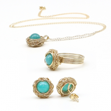 Sweet Amazonite set - 14K Yellow gold pendant, stud earrings and ring
