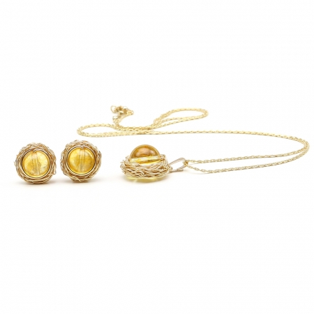Sweet Citrine set - pendant and stud earrings
