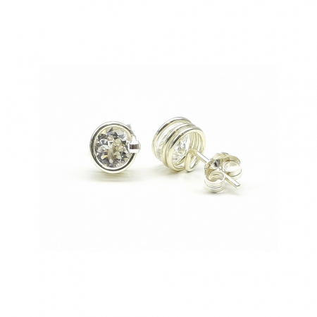 Deluxe White Topaz - 925 Silver stud earrings