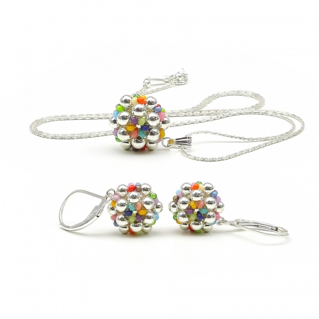Silver Daisies Miyuki Multicolor set - 925 Silver pendant and leverback earrings