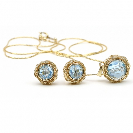 Sweet Aquamarine set - pendant and stud earrings