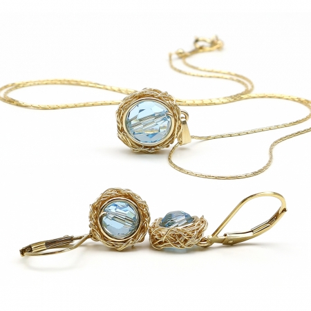 Sweet Aquamarine set - pendant and leverback earrings