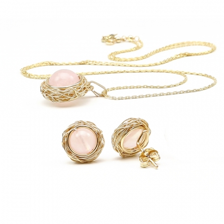Sweet Quart Rose set - pendant and stud earrings