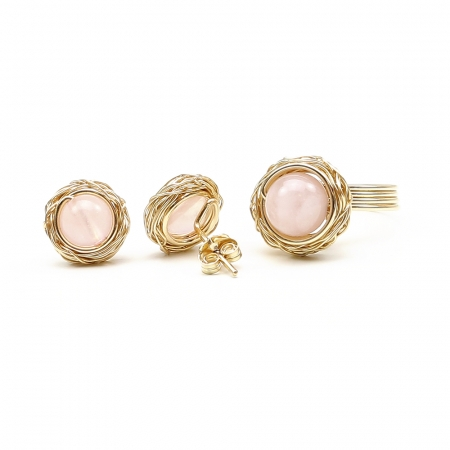 Sweet Quart Rose set - ring and stud earrings