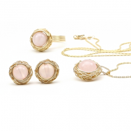 Sweet Quart Rose set - pendant, ring and stud earrings