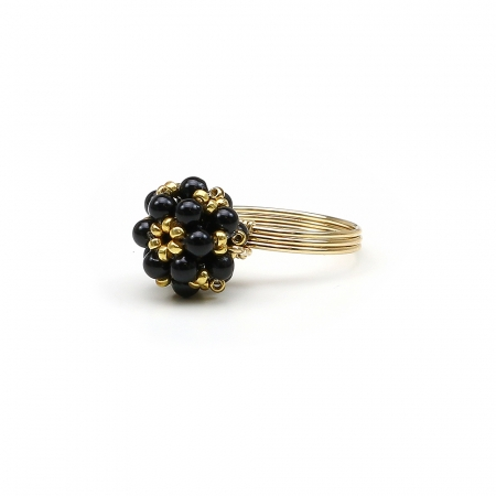 Swarovski pearls ring for women - Daisies Mystic Black