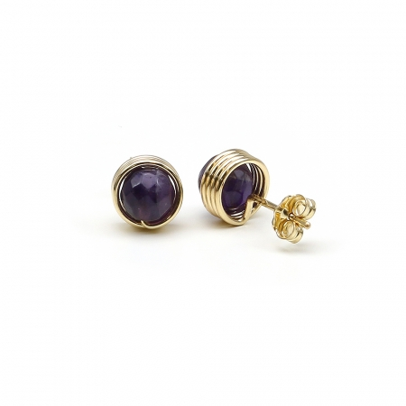 Busted Gemstone Amethyst - stud earrings