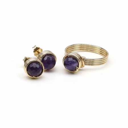 Busted Gemstone Amethyst - ring and stud earrings
