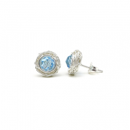 Silver stud earrings with Swarovski crystals - for women - Sweet Aquamarine