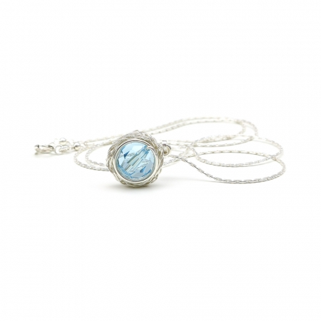Swarovski crystals Silver Pendant for women - Sweet Aquamarine AG925