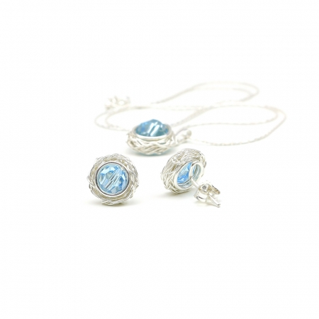 Sweet Aquamarine Set - Silver pendant and stud earrings