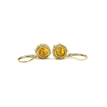 Leverback earrings with yellow Swarovski crystals - for women - Sweet Topaz