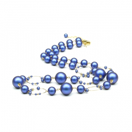Swarovski pearls necklace for women - Gravity Iridescent Dark Blue