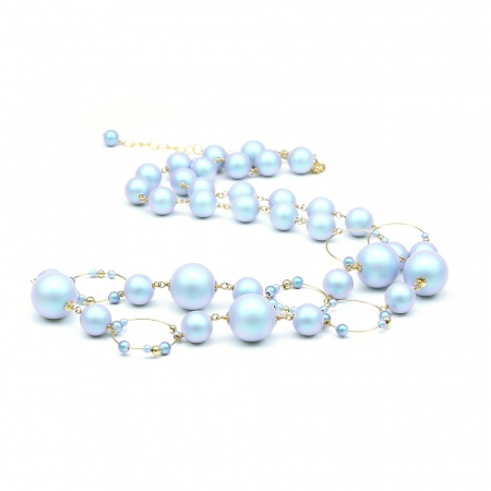 Swarovski pearls Necklace for women - Gravity Iridescent Light Blue